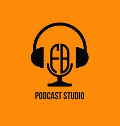 Fb monogram headphone and microphone style vector