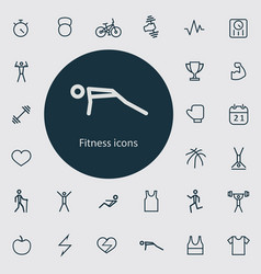 fitness outline thin flat digital icon set vector image