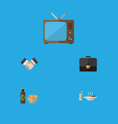 flat icon life set of briefcase beer with chips vector image