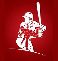 Group baseball players action cartoon graphic vector
