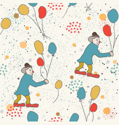 hand drawn seamless pattern with clown and vector image