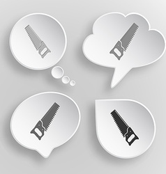 Hand saw White flat buttons on gray background vector image