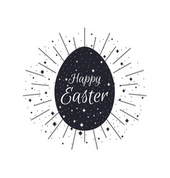 Happy easter egg with rays black and white color vector