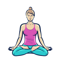 Happy girl sitting in lotus pose yoga fitness vector