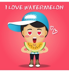 happy man carrying big sliced yellow watermelon vector image