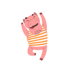 Happy smiling male pig cartoon character in vector