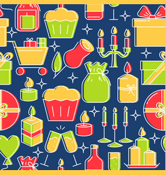 Holiday celebration seamless pattern in colored vector