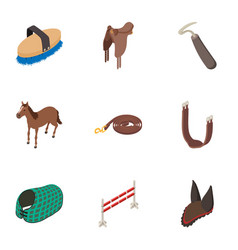 Horse stable icons set isometric style vector