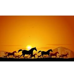 Horses running in field vector image