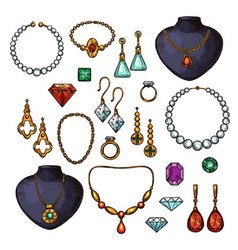 Icons of jewelry bijou fashion accessories vector
