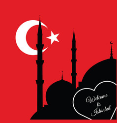 Istanbul mosque silhouette on red background vector
