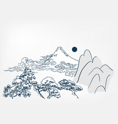japanese landscape background chinese card vector image