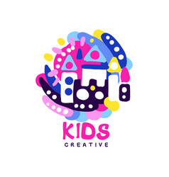 kids creative logo design template colorful vector image