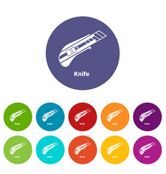 Knife icons set color vector
