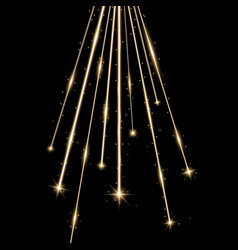 Laser beams with stars and sparks golden color vector