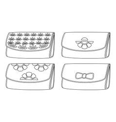 Leather wallets black contour vector image