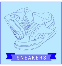 Line art sneakers vector
