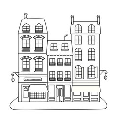 line art style of a street with three vector image