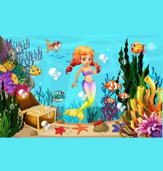 mermaid and many fish under ocean vector image