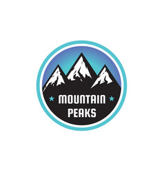 mountain peaks - concept badge climbing logo vector image