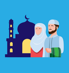 muslim people praying in mosque man and woman in vector image