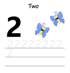 number two tracing practice vector image
