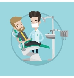 Patient and doctor at dentist office vector