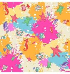 Pattern sea life on the blots ink background vector image