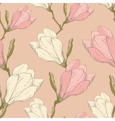Pink Vintage Magnolia Flowers Fabric Retro vector