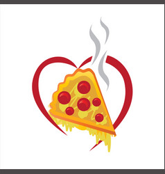 pizza piece with heart vector image