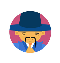 Portrait of asian man with mustache and hat vector