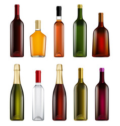 realistic alcohol bottle isolated set on white vector image