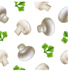 realistic detailed 3d fresh champignons mushrooms vector image