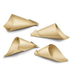realistic set of paper cone bags vector image