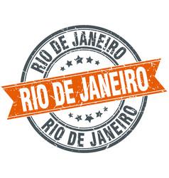 Rio de janeiro red round grunge vintage ribbon vector