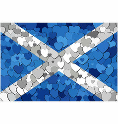 scottish flag made of hearts background vector image