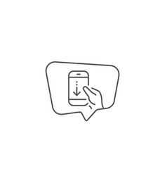 scroll down phone line icon scrolling screen sign vector image