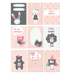 set bacards with cute animals and flower vector image