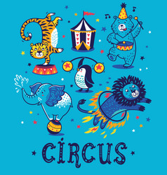 set circus cartoon animals vector image