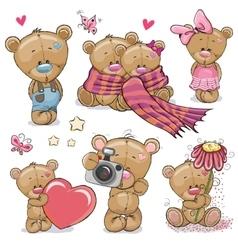 set cute cartoon teddy bear vector image