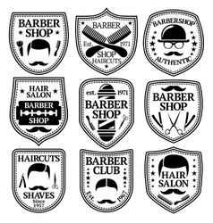 set of Barber Labels for shops etc vector image