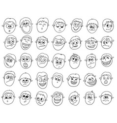 Set of cartoon male boy faces vector