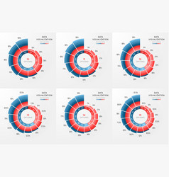 set of circle chart infographic template vector image