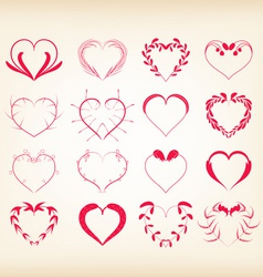 Set of decorative floral hearts vector