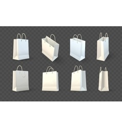 set paper shopping bags vector image