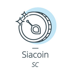 siacoin cryptocurrency coin line icon of virtual vector image