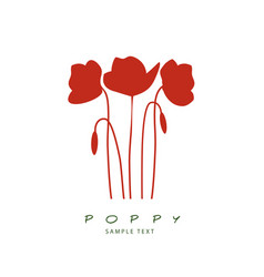 silhouette of stems leaves and poppy flowers vector image