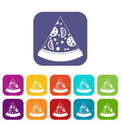 Slice of pizza icons set flat vector