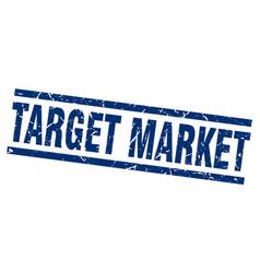 square grunge blue target market stamp vector image vector image