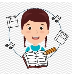 Student music notebook pencil vector